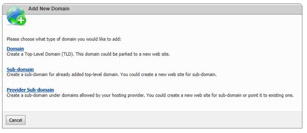 websitepanel add new domain subdomain