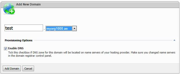 websitepanel add subdomain