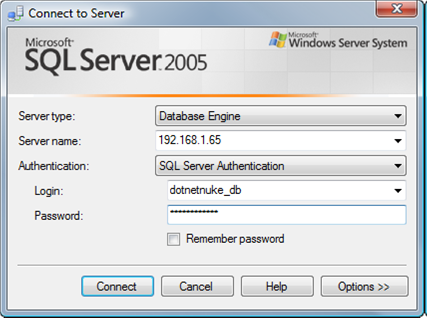 websitepanel sql server database connect with management studio