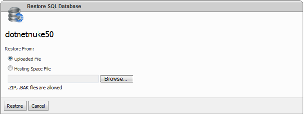 websitepanel sql server database restore