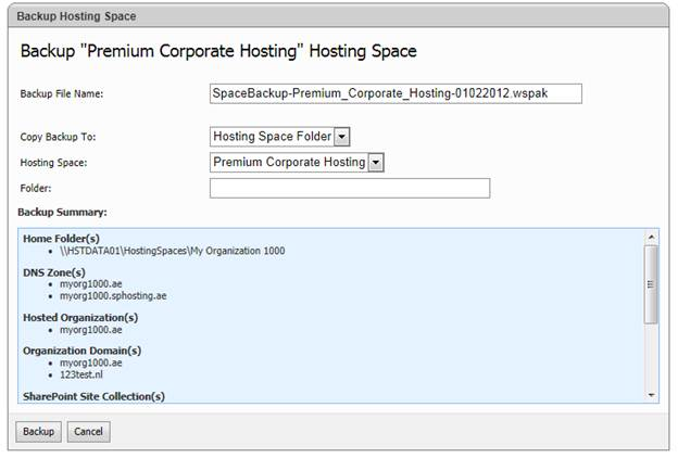 websitepanel user account backup hosting space