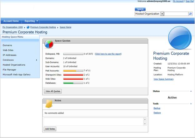 websitepanel user account hosting space details