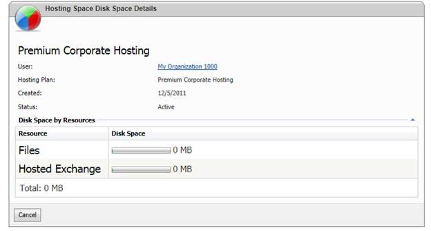websitepanel user account hosting space disk space details