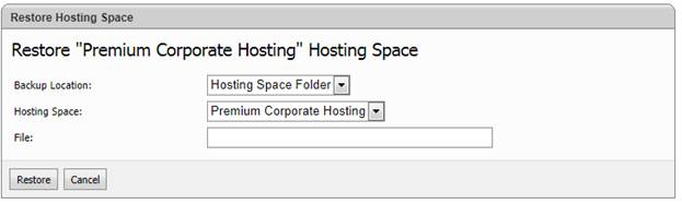 websitepanel user account restore hosting space