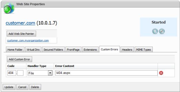 websitepanel website properties custom errors